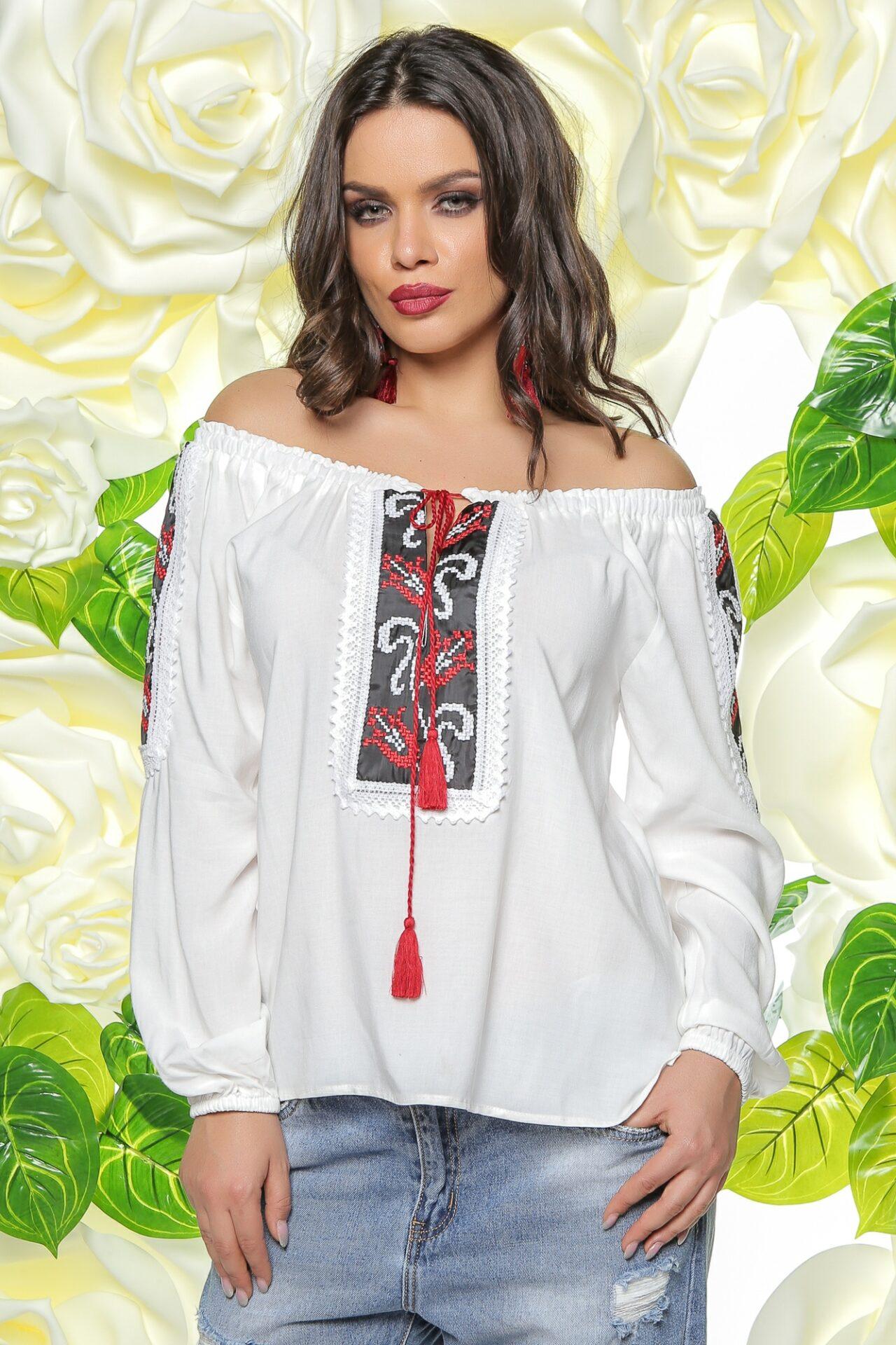 Bluza Alba Accesorizata Cu Motive Traditionale Madelia Fashion